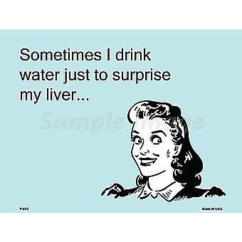 Noen ganger jeg drikker vann bare for å overraske meg leveren Metal signere 305 X 225 Mm