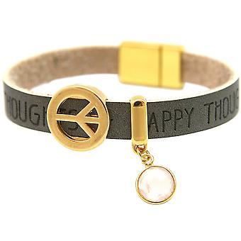 Gemshine - damer - armband - harmoni - fred - önskemål - rosenkvarts - antracit - grå - magnetlås