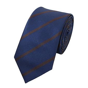 Schlips Krawatte Krawatten Binder 6cm dunkelblau braun gestreift Fabio Farini