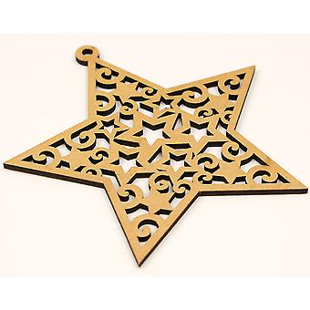 Wooden Christmas Star 10cm Bauble Shape to Decorate