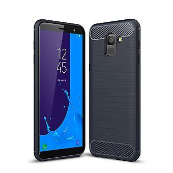 Samsung Galaxy J6 mål Silicon blå kol ser fallet TPU mobila täcker av stötfångaren 211782