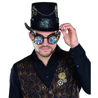 Goggles steampunk design hologram coppery Aviator glasses decorative rivets accessory Carnival
