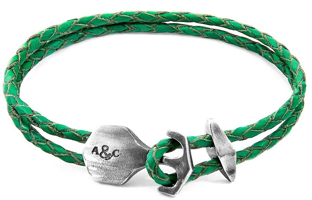 Anchor and Crew Delta Silver and Braided Leather Bracelet - Fern Green