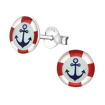 Anchor - 925 Sterling Silver Colourful Ear Studs - W19757x