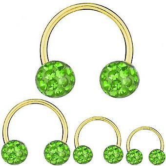 Circular Barbell Hufeisen Gold plattiert Titan 1,2 mm, Multi Kristall Kugel grün   6-12 mm