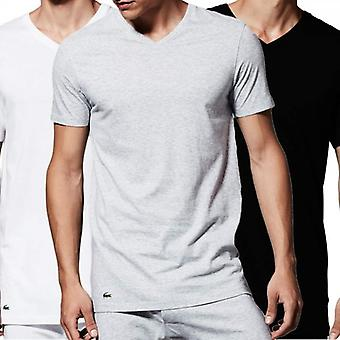 Lacoste Essentials Supima Cotton 3-Pack V-Neck T-Shirt, Black/Grey/White, X-Large