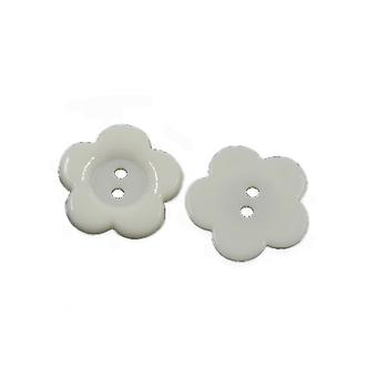 Packet 50+ White Acrylic 16mm Flower 2-Holed Sew On Buttons HA07115