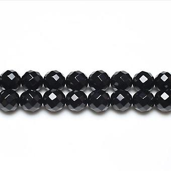 Packet 6 x Black Onyx 10mm Faceted Round Beads VP2655
