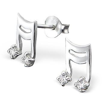 Music Note - 925 Sterling Silver Cubic Zirconia Ear Studs - W895X