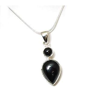 Toc Sterling Silver Black Double Drop Pendant on 16 Inch Chain