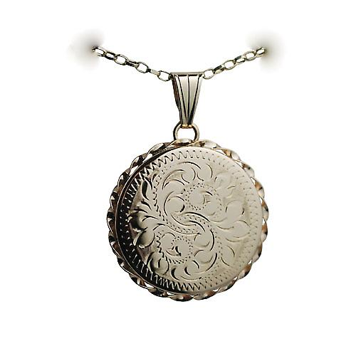 9ct Gold 25mm hand engraved twisted wire edge flat round Locket with a belcher Chain 16 inches Only Suitable for Children