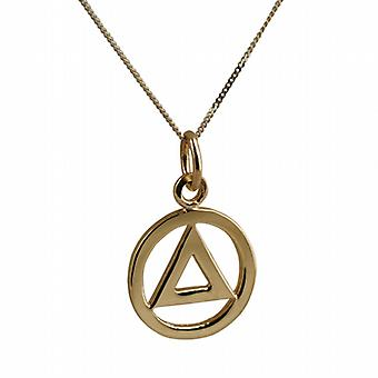 9ct Gold 13mm Alcoholics Anonymous Pendant with a curb Chain 16 inches Only Suitable for Children
