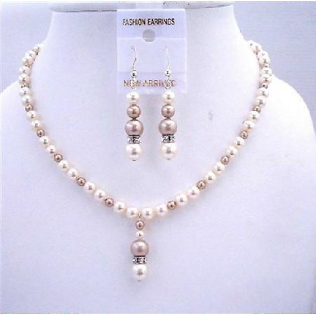 Ivory w/ Champagne Swarovski Pearls Bridal Bridmemaids Jewelry