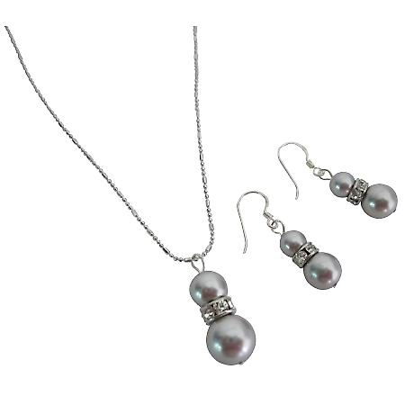 Enticing Jewelry Lite Grey Sterling Silver Earrings Necklace