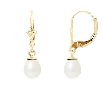 Earrings ears pearls of Culture white and yellow gold 375/1000