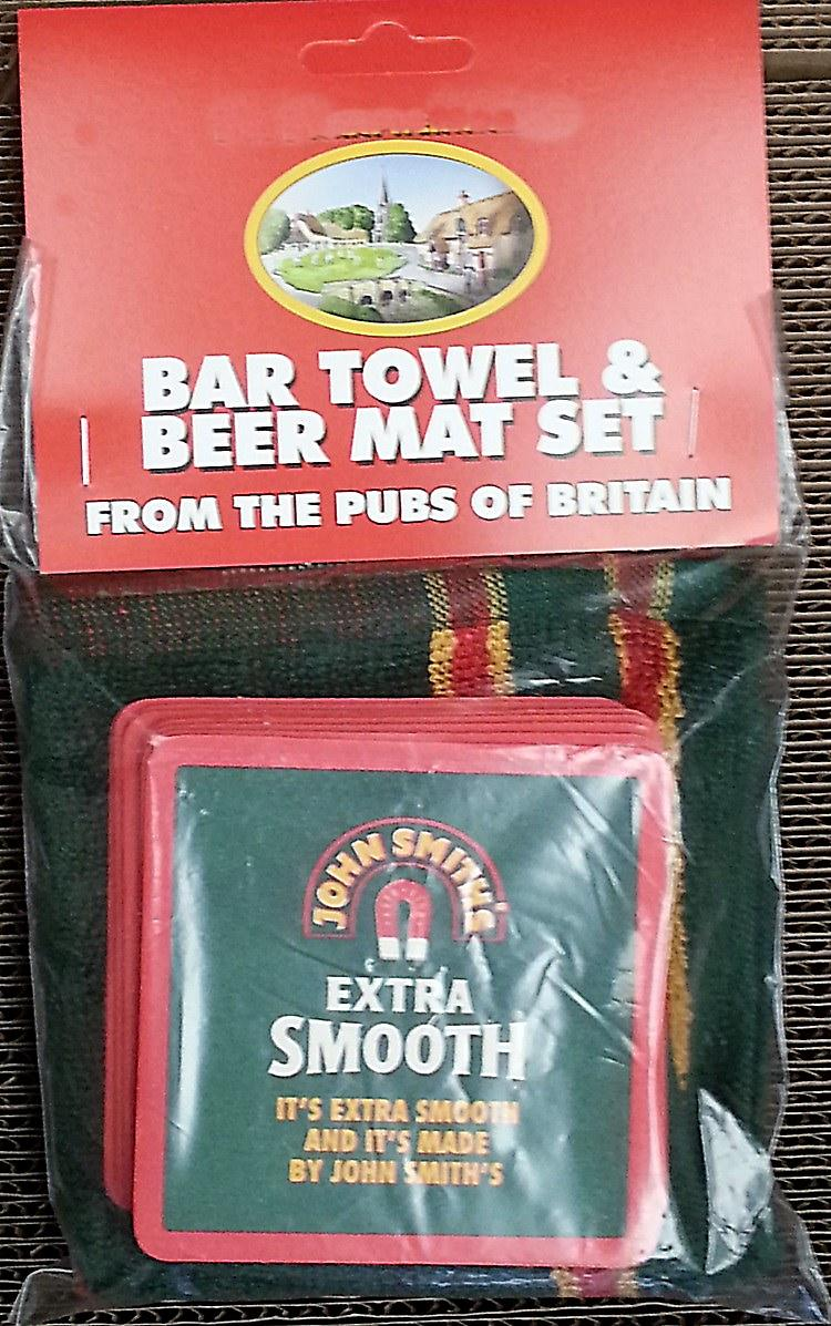 John Smiths Cotton Bar Towel and 10 Beermats (pp)