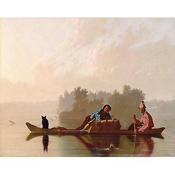 Pelshandlere synkende Missouri, George Caleb Bingham, 50x40cm