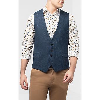 Harris Tweed Mens Blue and Black Herringbone Tweed Waistcoat Regular Fit 100% Wool Low Cut