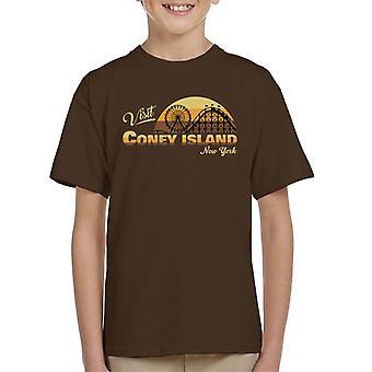 Visit Coney Island Retro New York Kid's T-Shirt