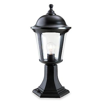 Firstlight - 1 Light Outdoor Pedestal Lantern - Pillar Black IP44 - 3483BK