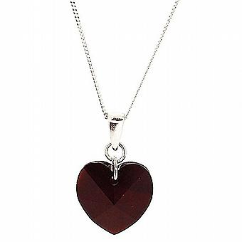 The Olivia Collection 14mm Deep Red Crystal Heart Pendant on 18 Inch Chain