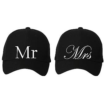 Couples Mr Mrs Black Baseball Cap Set