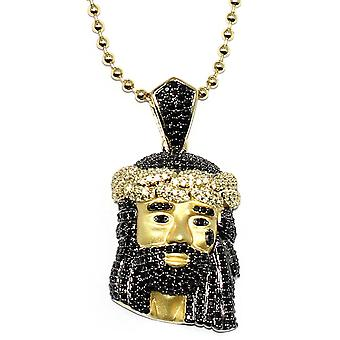 18k Gold Plated Black CZ Jesus Piece with 30 inch ball chain and 30mm Pendant - High Quality