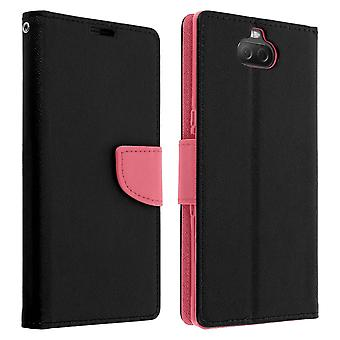 Fancy style cover, wallet case with stand for Sony Xperia 10 - Pink