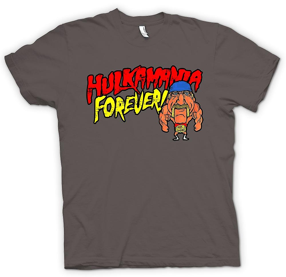 Mens T-shirt - Hulkmania Forever - Hulk Hogan Cartoon