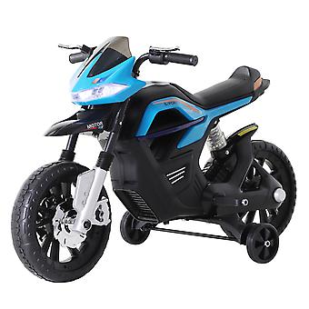 HOMCOM 6V Ride On Battery Powered Motorcycle Forward Reverse Brake Electric Vehicle Outdoor Fun Working Lights Music Play Wide Wheels - Blue