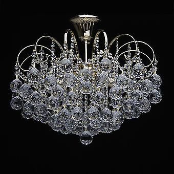 Glasberg-franska guld finish sex ljus semi-Flush montering med kristaller 232016406