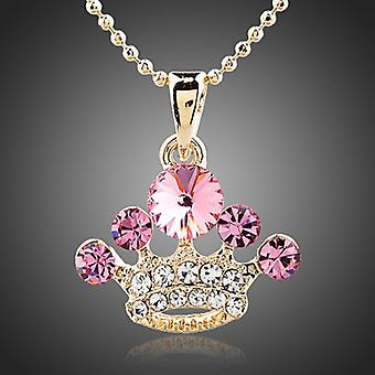 18K Gold Plated Crown Rose Pendant