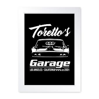 Torettos Garage, Framed Hot Rod Print - Home Decor Kitchen Bathroom Man Cave Wall Art