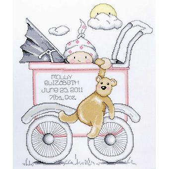 Baby Buggy Girl Birth Record Counted Cross Stitch Kit 13