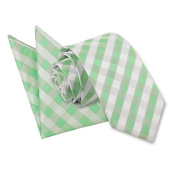 Mint Green Gingham Check Tie 2 pc. Set