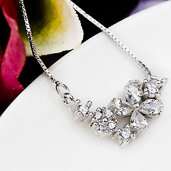 Affici 18ct White Gold Plated Sterling Silver Necklace with Diamond CZ Gems