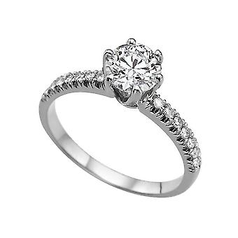 1.14 Carat F VS1 Diamond Engagement Ring 14K White Gold Solitaire w Accents Classic Round
