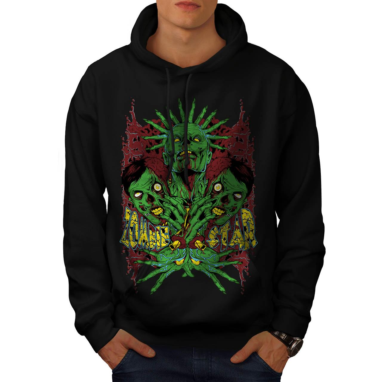 Star Green Monster Zombie Men Black Hoodie | Wellcoda