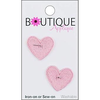 Iron-On Appliques-Pink Hearts 2/Pkg A001300-202