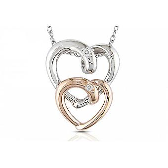Affici Sterling Silver Heart Pendant with Chain 18ct White & Rose Gold Plated