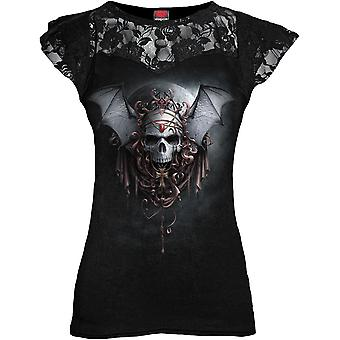 Spiral Direct Womens Goth Nights Lace Layered Tshirt Top Black Skull Wings Cross