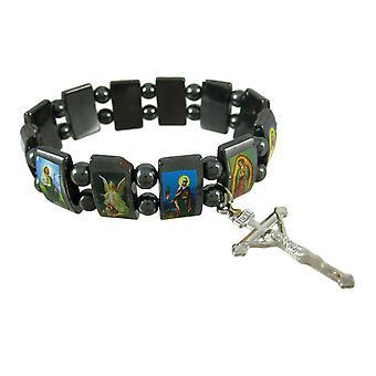 Hematite Stretch Bracelet W/ Religious Scenes Catholic