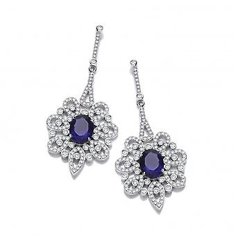 Cavendish French Silver and Sapphire CZ Belle Epoque Earrings