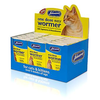 Johnsons Cat One Dose Wormer 2 Tablets Counter Display