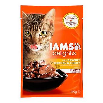 Iams Delights Cat Pouch Chicken Turkey In Gravy 85g (Pack of 24)