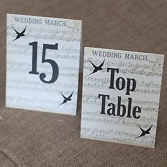 Wedding Table Numbers Vintage Music Swallows Top Table 1 - 15