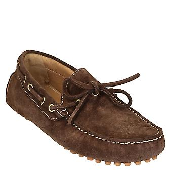 Men's driving moccasins in dark brown suede leather