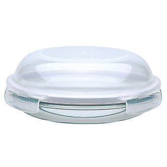 Lås & Lock Ovenglass 24cm runde glas fad/tallerken med Dome låg