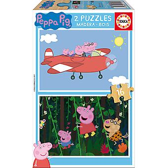 Educa Peppa Pig Puzzle Madera Doble 2X16