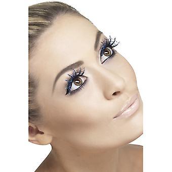 Eyelashes artificial eyelashes blue glitter spider design